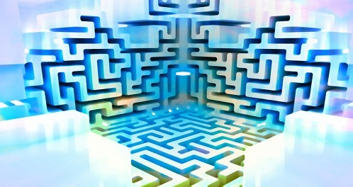 blue white three dimensional maze structure